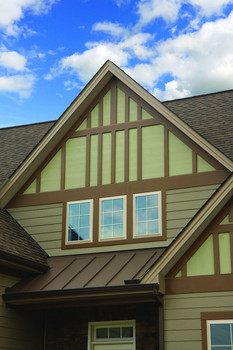 fiber cement panels create Tudor style